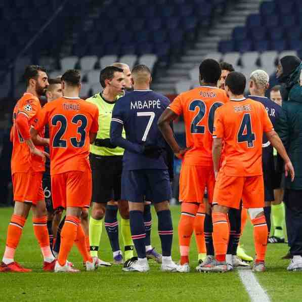 PSG and Istanbul Basaksehir depart the pitch as the fourth official is accused of racism