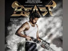 Vijay in Thalapathy 65 first look is Beast with a gun. Trending poster